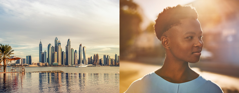 LXR Hotels & Resorts - Vista dello skyline e di una ragazza sorridente nella luce del giorno